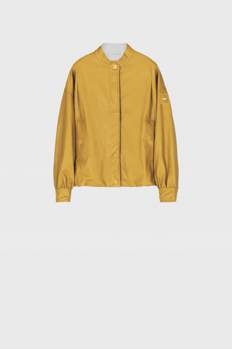 Women's eco-leather short blouson in yellow