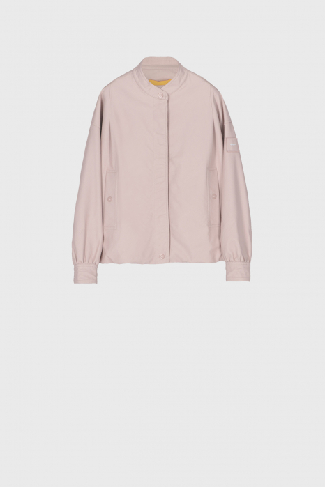 Women's eco-leather short blouson in pink
