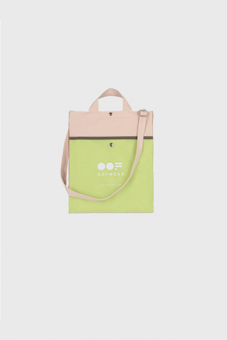Shoulder bag with logo in greige cotton