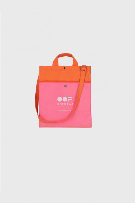 Shoulder bag with logo in orange cotton