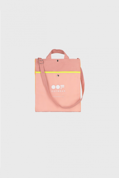 Shoulder bag with logo in antique pink cotton