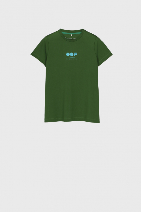 Women's slim fit t-shirt in green cotton with logo