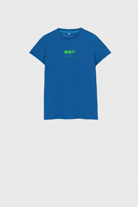 Women's slim fit t-shirt in bluette cotton with logo