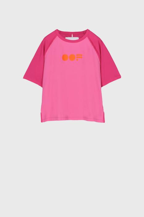 Women's T-shirt with raglan sleeve and logo in fuchsia