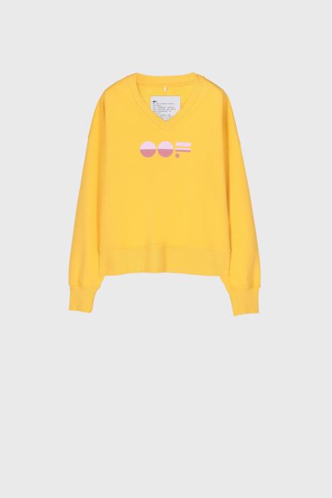 Women's yellow cotton sweatshirt  with V neck