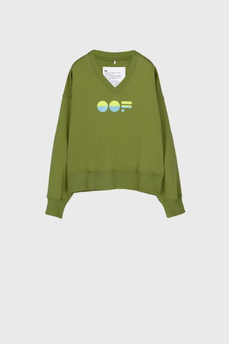 Women's green cotton sweatshirt  with V neck