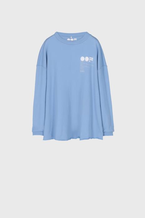 Women's oversized sweatshirt in light blue cotton